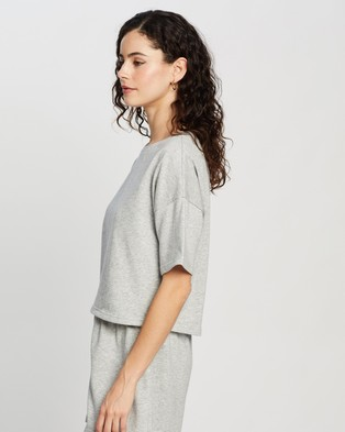 Atmos&Here Laura Short Sleeve Sweat Top - Sweats (Grey Marle)