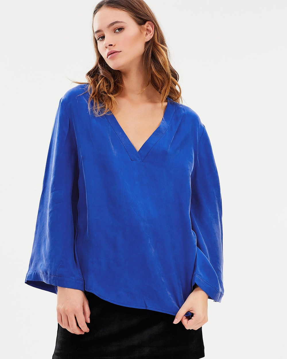 Third Form Essential Deep V Blouse Tops Azure Essential Deep V Blouse