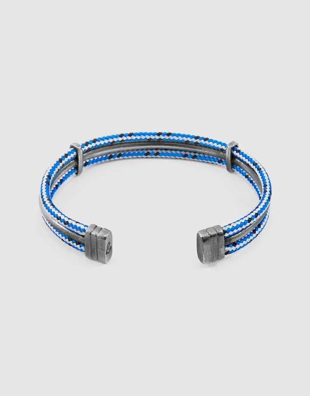 Men Blue Dash Aire Silver and Rope Bracelet