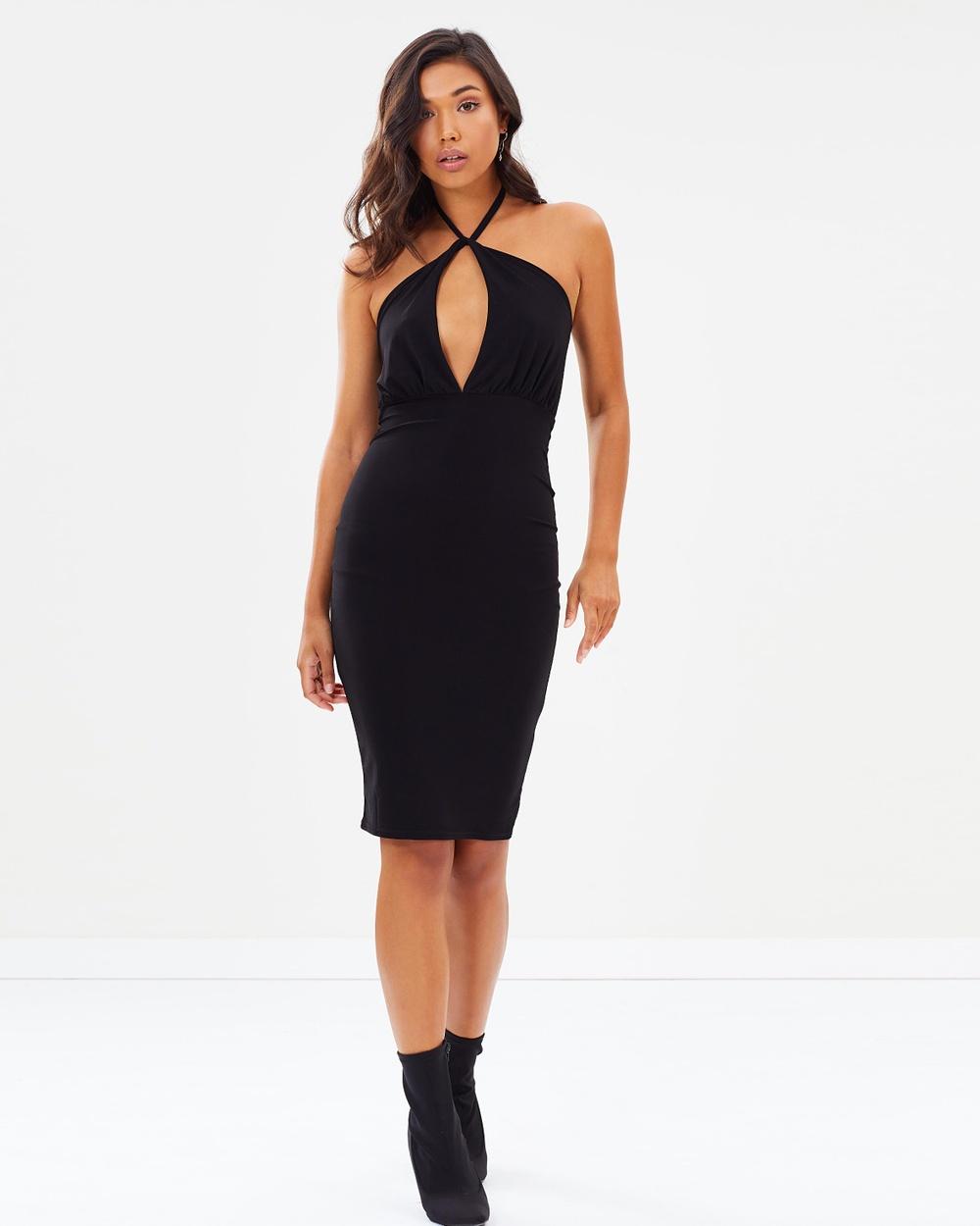 Missguided Slinky Tie Neck Twist Keyhole Midi Dress Bodycon Dresses Black Slinky Tie-Neck Twist Keyhole Midi Dress