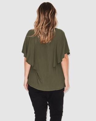 17 Sundays Flutter Sleeve Blouse - Tops (Olive)
