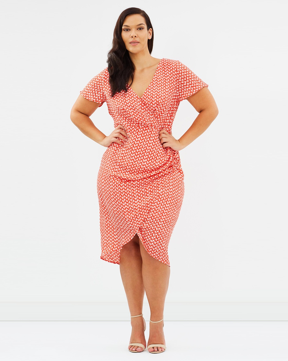 Atmos & Here Curvy ICONIC EXCLUSIVE Valentina Gathered Midi Dress Printed Dresses Vintage Polka Dot ICONIC EXCLUSIVE Valentina Gathered Midi Dress