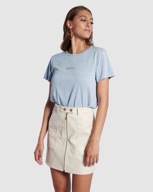 Apero Label - Mini Embroidered Femme Tee Short Sleeve T-Shirts (Blue)