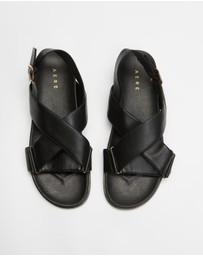 AERE - Crossover Leather Footbed Sandals