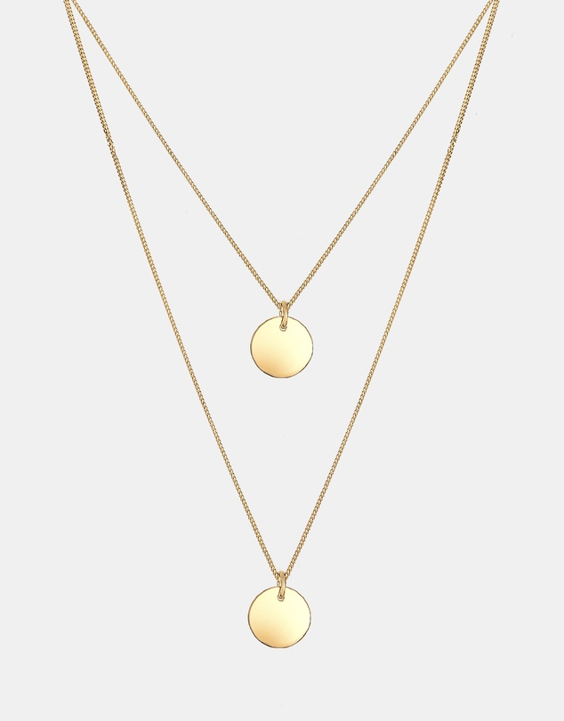 Elli Jewelry - Necklace 925 Sterling Silver GoldPlated Layered Circle