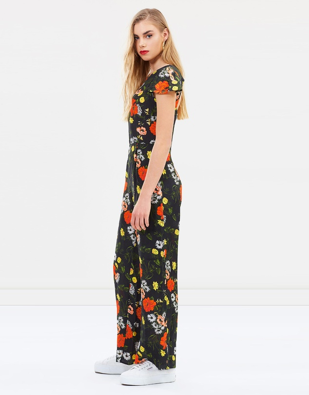 fb1f1547f0 Floral Frill Sleeve Cape Culotte Jumpsuit by Miss Selfridge Online ...