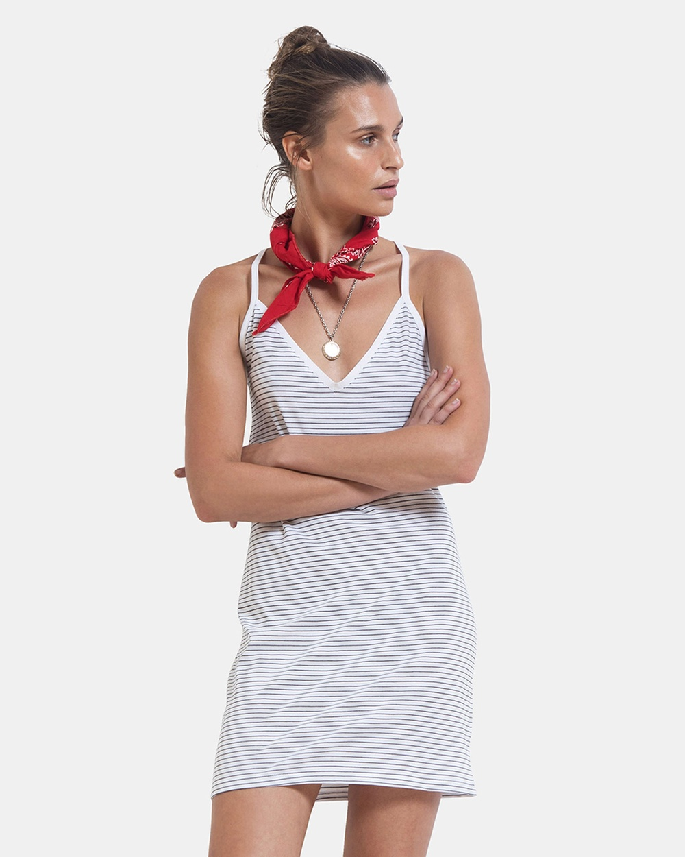 First Base Strappy V Front Dress Dresses Stripe Strappy V Front Dress
