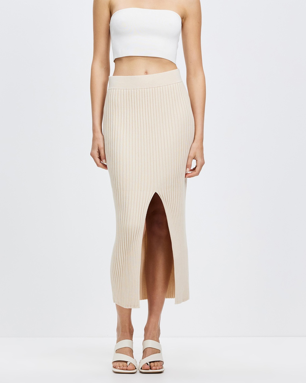 AERE Organic Cotton Blend Ribbed Skirt Pencil skirts Neutral