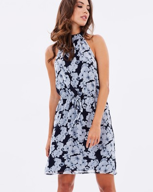 Atmos & Here – Pippa High Neck Mini Dress – Dresses (Mono Floral)