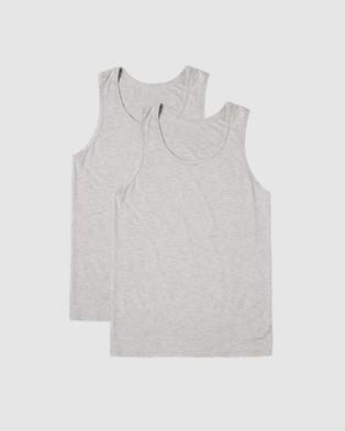 Boody Organic Bamboo Eco Wear - 2 Pack Singlet T-Shirts & Singlets (Dark Marle)
