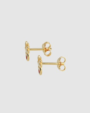 Elli Jewelry Kids - Earrings Reindeer Swarovski® Crystals Gold Plated 925 Sterling Silver - Jewellery (Gold)