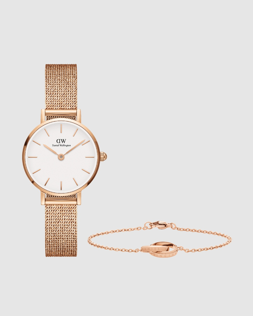 Daniel Wellington Petite Pressed Melrose + Unity Bracelet Gift Set Watches Rose gold