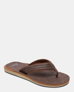 Quiksilver Mens Carver Nubuck Sandals - Thongs (DEMITASSE - SOLID)