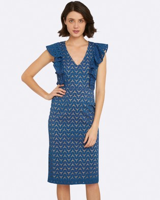 Oxford – Adelle Lace Dress Blue