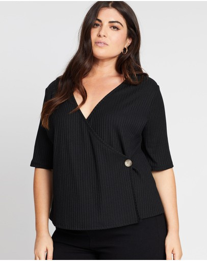 Atmos&here Curvy Michelle Rib Wrap Front Top Black