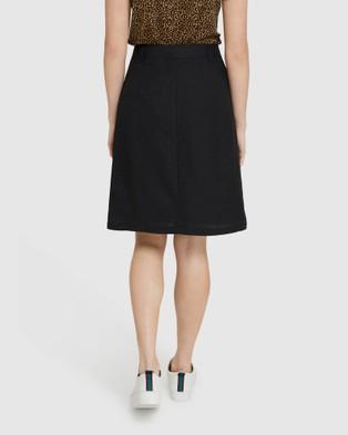 Oxford Tito Button Front Skirt - Denim skirts (Black)