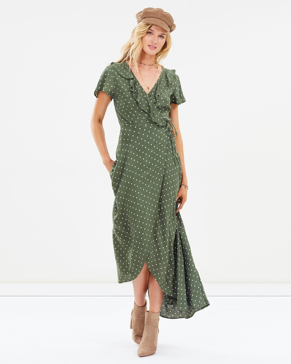 Auguste The Label Khaki Polly Frill Neck Wrap Maxi Dress