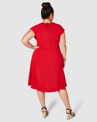 Something 4 Olivia Bria Linen Midi Dress - Dresses (red)