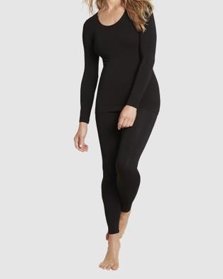 Boody Organic Bamboo Eco Wear Long Sleeve Top and  Full Leggings - Socks & Tights (Black)