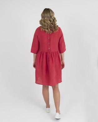 Kate Douglas Designs Delta Linen Dress - Dresses (Red)