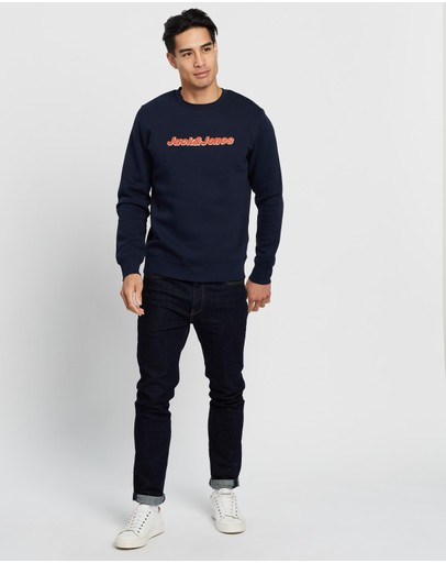 Jack & Jones Otto Front Logo Sweatshirt Navy Blazer