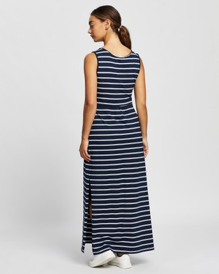 Angel Maternity Busy Mama Nursing Maxi Dress - Dresses (Navy & White Stripe)