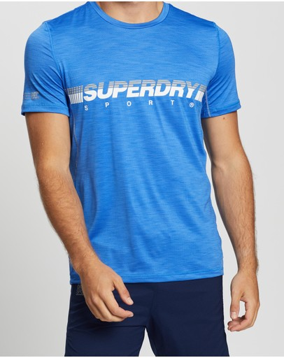 Superdry Sport Training Lightweight Tee 70's Blue Marle