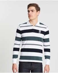 Kent and Curwen - Horizontal Striped Long Sleeve Polo