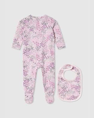 Milky Patchwork Romper & Bib Set   Babies - Bibs (Blossom Pink)