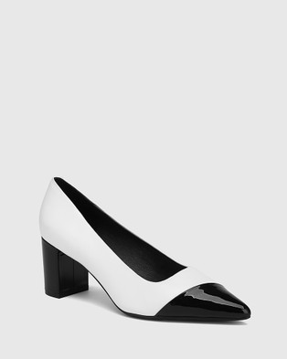 Wittner Dashing Leather With Black Patent Toe And Heel Pumps All White