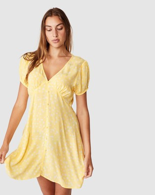 Cotton On Woven Essential Button Front Mini Dress - Dresses (Daisy Cali Yellow)