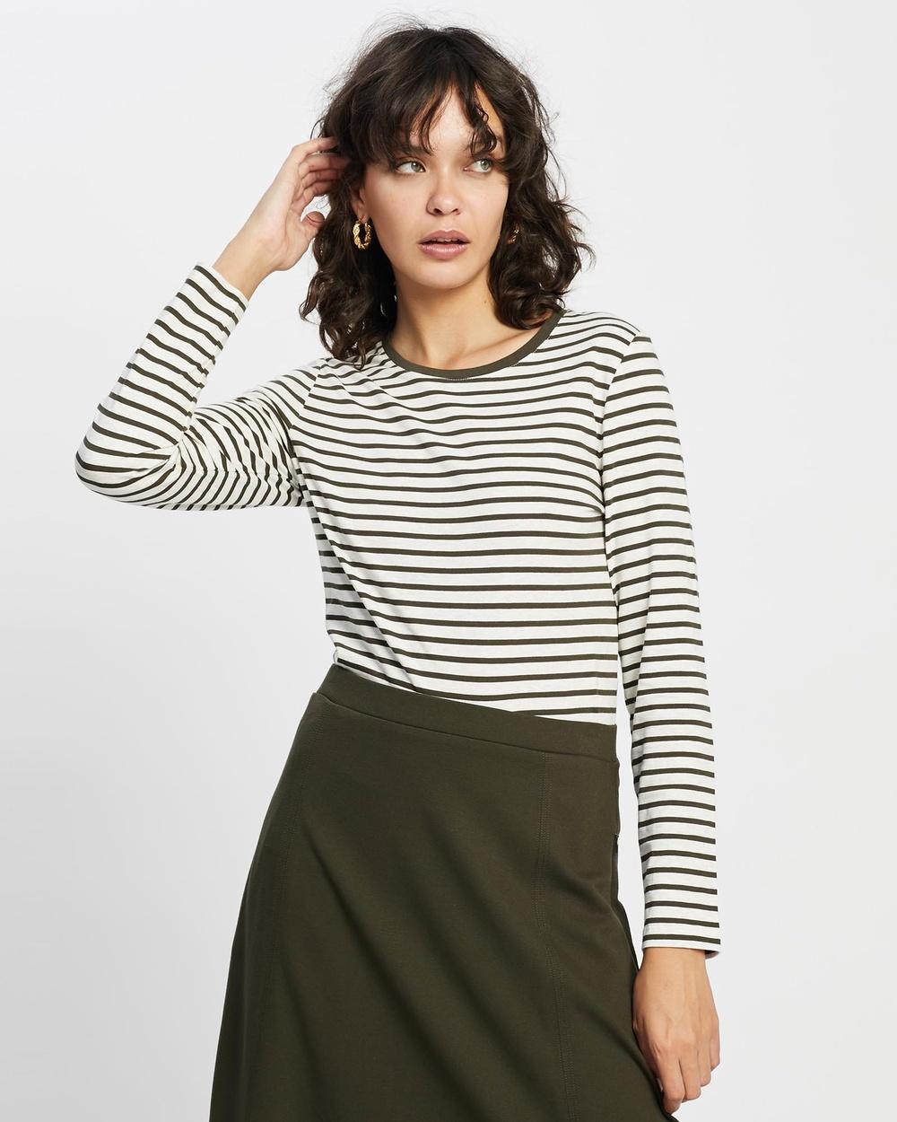 David Lawrence - Michela Stripe Long Sleeve Tee - T-Shirts & Singlets (Khaki) Michela Stripe Long Sleeve Tee