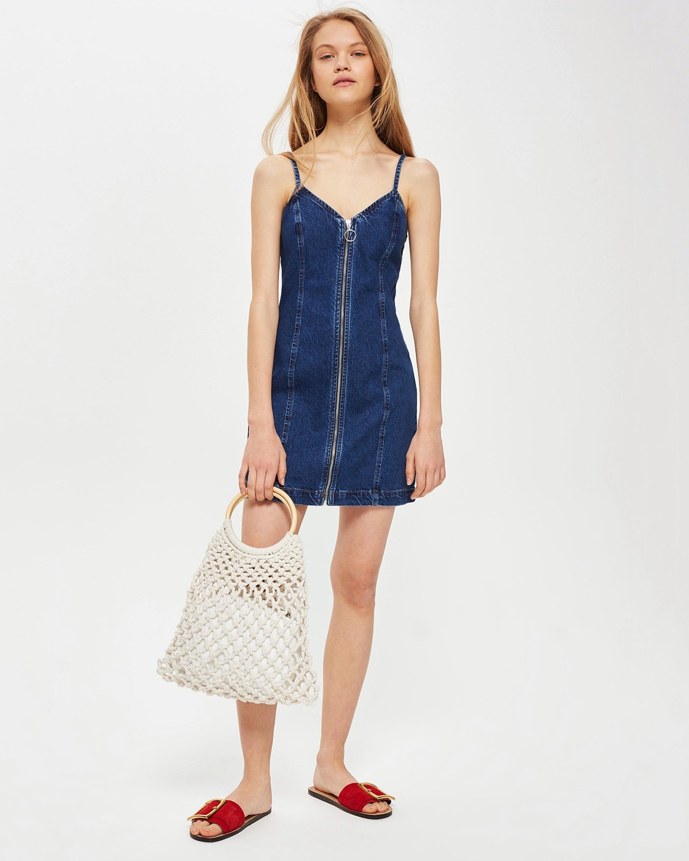 TOPSHOP MOTO Zip Denim Dress Dresses Mid Denim MOTO Zip Denim Dress
