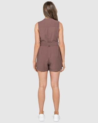 Forever New Elena Utility Belted Playsuit - Jumpsuits & Playsuits (Dark Dove)