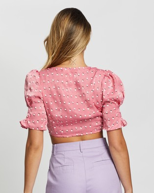 Glamorous Mini Flower Buds Cropped Top - Cropped tops (Pink Flower)