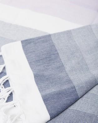 Miz Casa and Co Ibiza Turkish Towel Navy & Lilac - Towels (Navy & Lilac)