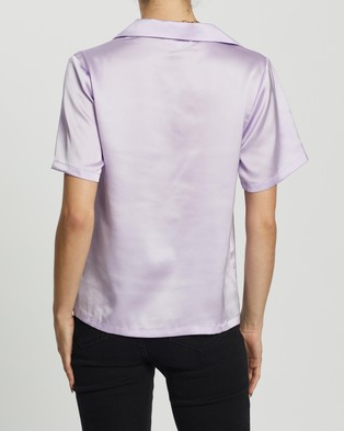 Dazie Serene Button Up Shirt - Tops (Lilac)