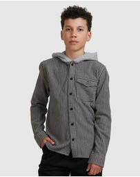 DC Shoes - Youth Rogers Long Sleeve Hooded Flannel Shirt