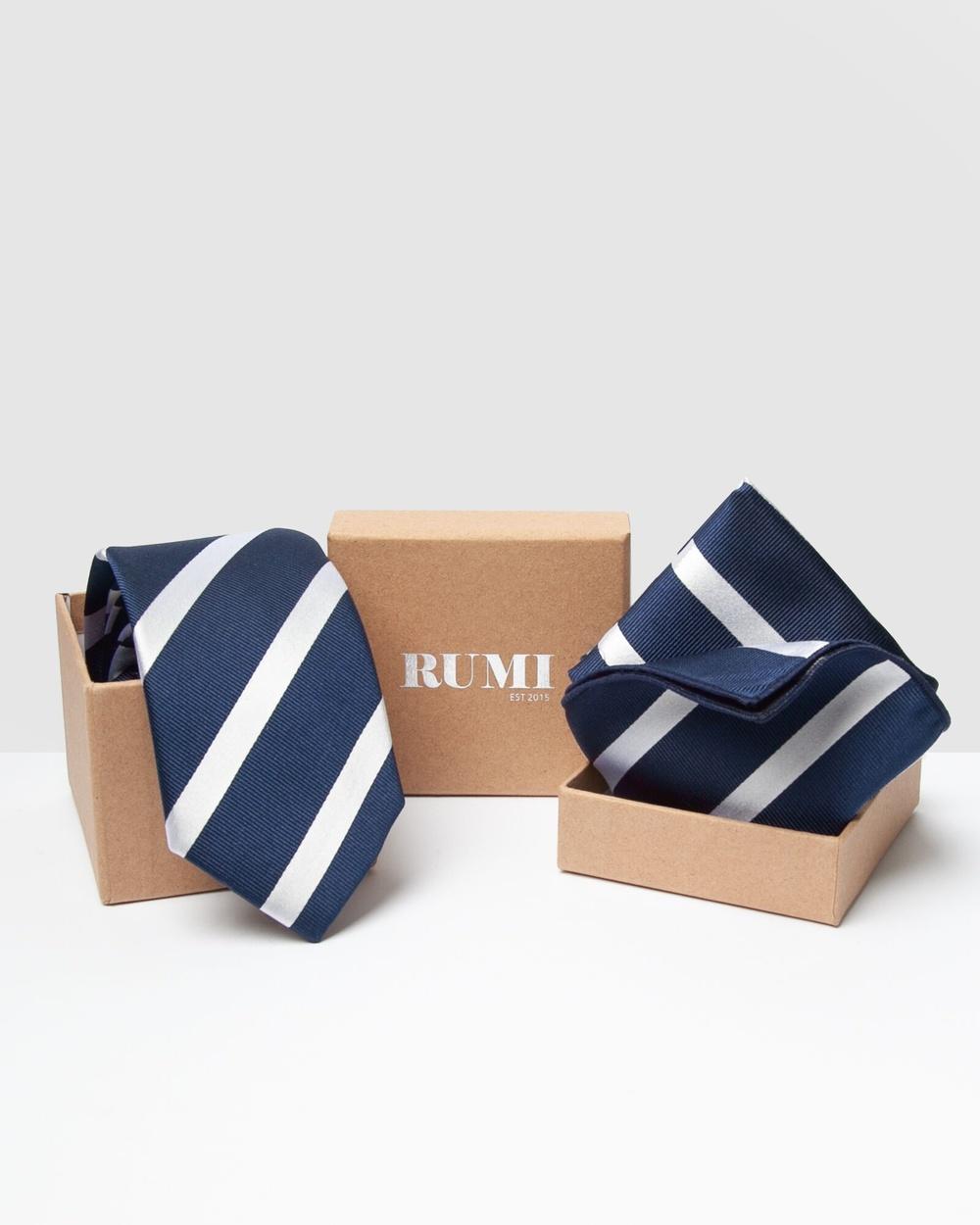 RUMI Design Silk Paquet Ties Navy Australia