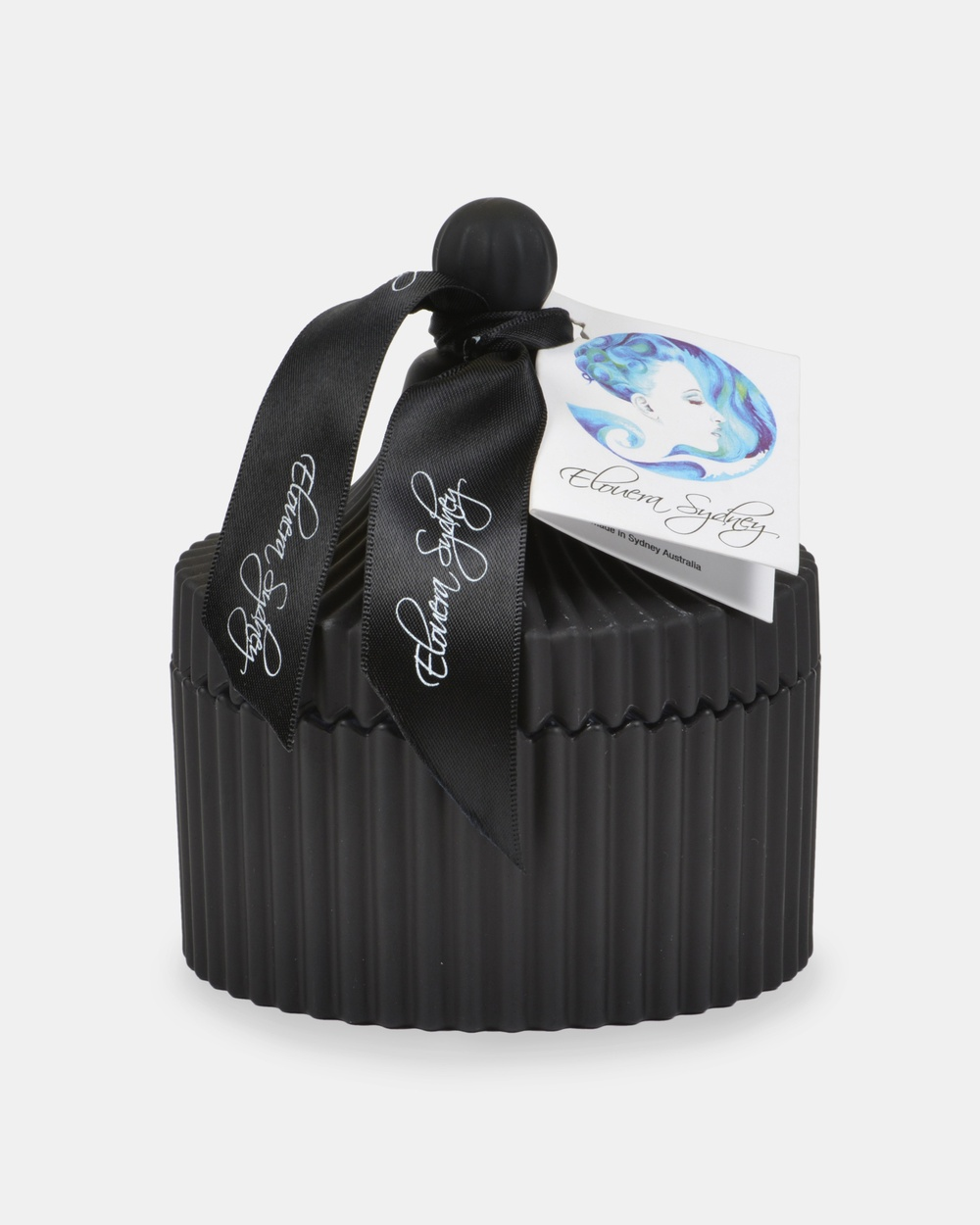 Elouera Sydney Lychee and Peony Matte Black Carousel Candle Candles White