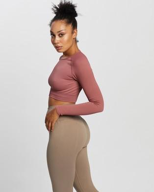 Aim'n Ribbed Seamless Crop Long Sleeve Top - Long Sleeve T-Shirts (Pink Beat)