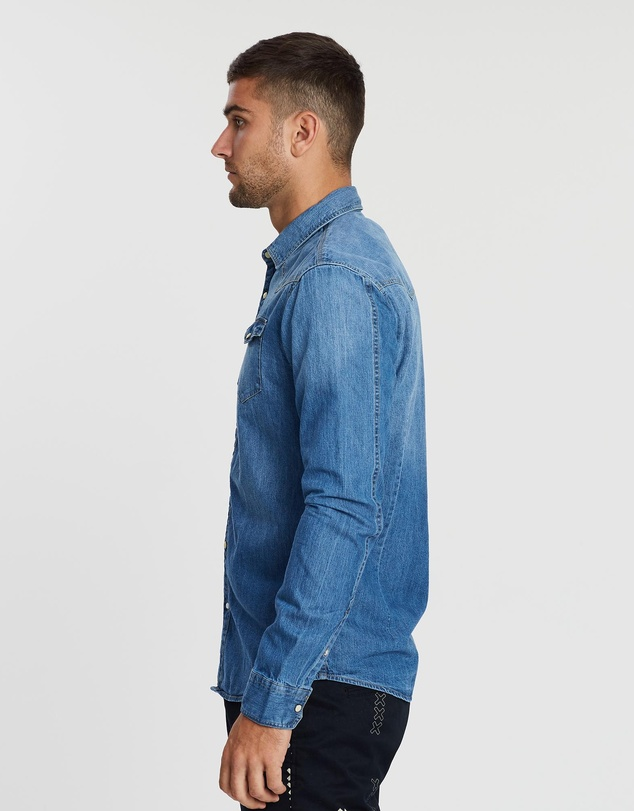 Scotch & Soda - Ams Blauw Classic Fit Denim Western Shirt