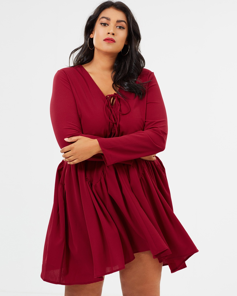 Missguided Curve Dropped Hem Dress Dresses Burgundy Dropped Hem Dress