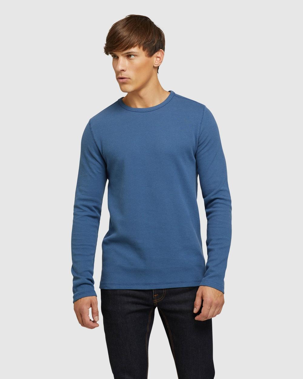 Oxford - Albert Waffle Crew Neck Long Sleeve - Long Sleeve T-Shirts (Blue) Albert Waffle Crew Neck Long Sleeve