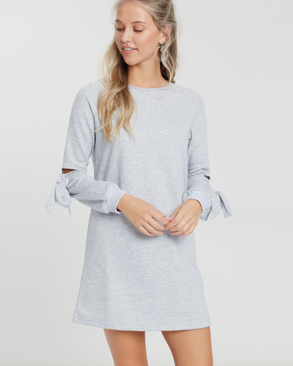 Dazie Malah Tie Side Jumper Dress Dresses Grey Marle Malah Tie Side Jumper Dress