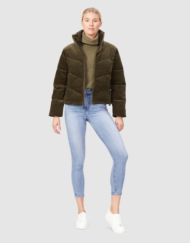 Women Cord Puffer Jacket