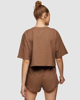 TOPSHOP Branded Boxy Pyjama Set - Two-piece sets (Brown)