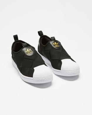 adidas Originals Superstar Slip On Shoes   Women's - Slip-On Sneakers (Core Black, Cloud White & Gold Metallic)