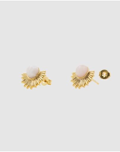 Short Story Sun Rays Rosequartz Earrings Pink