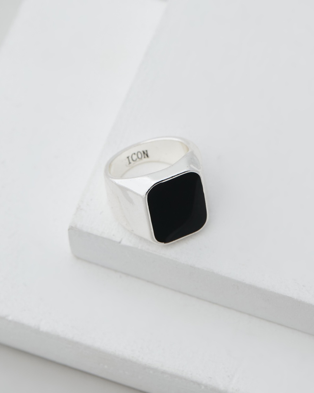 Icon Brand Deco Nuance Rectangle Enamel Ring Jewellery Silver
